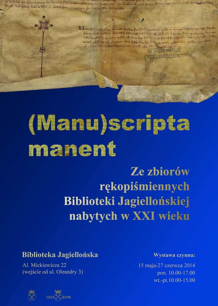 Manuscripta manent plakat