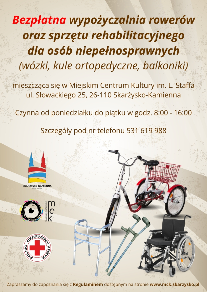 plakat wypozyczalnia rowerow